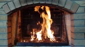 wood grill : the fire burns in the fireplace. warm family evenings by the fireplace Stock Footage