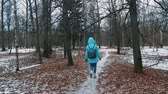 ティーン : A girl walks along a path in the Park, alone in winter 動画素材