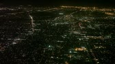 background : Aerial view of Los Angeles at night from an airplane just before it lands Stock Footage