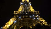 europe : Eiffel tower in Paris by night, France Stock Footage