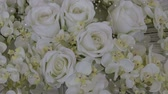 detail : wedding white beautiful rose bouquet floral florist composition Stock Footage