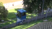 litwa : modern funicular railway on historical Gedminas castle hill in Vilnius, Lithuania