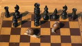 Two garden burgundy snails on old wooden chessboard playing in chess