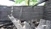 pobre : Burnt old wooden farm house ruins Stock Footage
