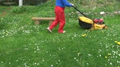 men cut spring grass with lawn mower in garden