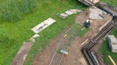 kazmak : Heating system repair trench and pipeline in park from drone, aerial