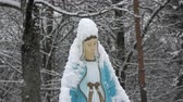 virgem : Snowy blessed Virgin Mary primitive sculpture in old cemetery Stock Footage