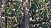 кресты : Drone fly down above Lithuanian iconic hill of crosses, aerial view Стоковые видеозаписи