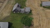 masia : Old wooden farm house ruins, aerial view Archivo de Video