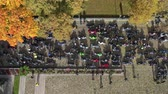 モト : Many motorcycle bikers in town square, closing of the season, Lithuania, aerial view
