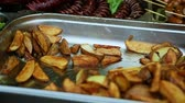 золотой : street food fried potato in metal tray
