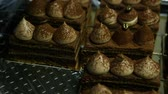panorama from above on many opera cake slices