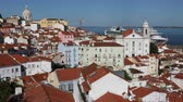telha : View of the city in the district of Alfama overlooking the port at clear sunny day. Lisbon, Portugal