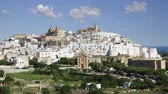 alley wall : View of the stunning  white city of Ostuni in Puglia, Italy