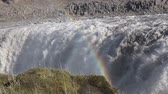 Iceland. Dettifoss waterfall & rainbow Стоковые видеозаписи