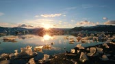 Global Warming Climate Change Concept. Icebergs in Jokulsarlon Glacier Lagoon Stock Footage