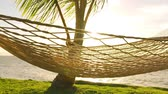 silence : Hammock and Palm Trees at Sunset SLOW MOTION. Luxury Vacation Relaxation Lifestyle. Hammock Swinging on the Wind Between Two Palm Trees. Backyard Oceanfront Real Estate. Maui Stock Footage
