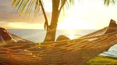 неузнаваемый : Romantic couple relaxing in tropical hammock at sunset. Summer Luxury Vacation. Стоковые видеозаписи