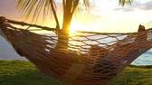 свадьба : Romantic couple relaxing in tropical hammock at sunset. Summer Luxury Vacation. Стоковые видеозаписи
