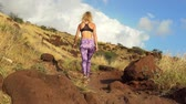 Young Athletic Woman Running on Mountain Trail. POV Follow Cam. Sunset Workout in Nature.