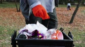 A man cleansing up a trash in a public park. The concept of caring for the environment and the caring for the environment. Autumn park Stock Footage