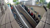 hayat : People Using Escalator to Subway Station Stok Video