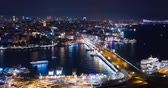 Aerial Hyperlapse Istanbul Galata and Bosphorus Night Stock Footage