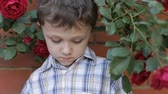 abuso : sad little boy outdoors at the day time Stock Footage