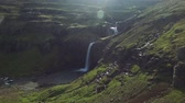 northern hemisphere : Drone shot of waterfalls in Iceland