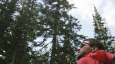 explorer : Back of man as he hikes through pine forest in Utah Stock Footage