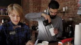 small : Staff small coffee shop at work Stock Footage