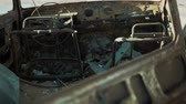 corrode : Rusty car body exploded inside close-up Stock Footage