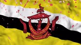 brunei : 4k Realistic 3D detailed slow motion brunei flag , Falling Rose petals on flying brunei Flag Animated Background,