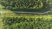 AERIAL : Flight over a country road Стоковые видеозаписи