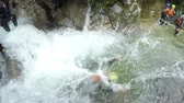 uppercut : Adult men gets punched and felss into waterfall during canyoning trip, a joke ofcourse