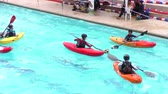 caiaque : BANOS, ECUADOR - 23 MAY 2015: Kayak polo in swimming pool for Santa Ana summer contest in BANOS on MAY 23, 2015