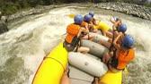 Pilot View Of A Team Of Girls On Whitewater Rafting Trip Wearing Underwear Only