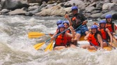 Group Of Six Sexy Young Women On Extreme Whitewater River Rafting Wearing Underwear Only