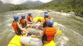 Extreme Whitewater River Rafting Pilot Giving Commands To A Team Of Young Girls With Sounds Vídeos