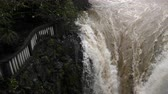 Slow Panning Over Pailon Del Diablo Waterfall In Ecuador In The Rainy Season