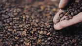 macro : hands pouring coffee in slow motion. Stock Footage