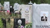 parting : Crosses and obelisks at the Russian cemetery. Stock Footage