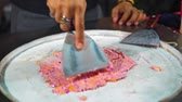 tort : ice cream is prepared on the street asia, street food on the night market Wideo