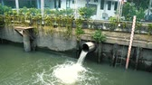 ドレイン : Dirty water flows through the drain pipe into the canal, low water level 動画素材