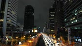farlar : Traffic jam in the downtown avenue in rush hour at night