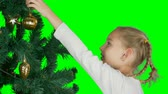 bombki : Alpha Channel transparent background. Close up portrait. Young white blonde caucasian girl decorate christmas tree with golden ball. Young girl hanging to christmas tree branch gold shine toy ball. Wideo