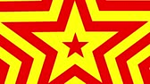 sivri : Five point star red and yellow gold star pentagon animated grows. Seamless loop shape star motion CG. Pentagram tunnel. Stok Video