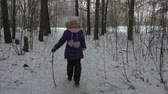 nyírfa : Running girl teenager have fun leisure time in winter forest