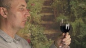 grape : Sommelier smelling flavor red wine in glass and tasting. Red wine degustation