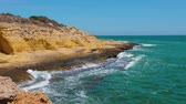 tunisia : Sea waves on rocky cape scenic view. Water waves splashing at rocky sea shore